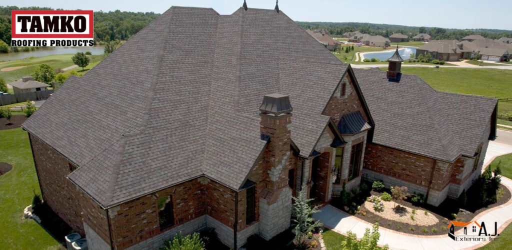 Aerial View of Dark Brown Tamko Brand Roof Shingles Installation by AJ Exteriors