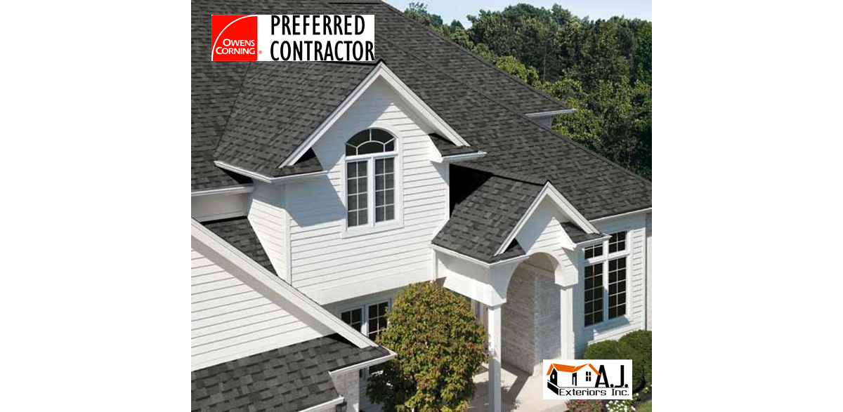 Dark Gray Roof Shingles on a White House Installed by AJ Exteriors